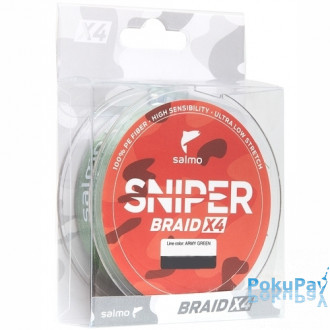 Шнур Salmo Sniper Braid Army Green X4 120m 0.165mm 7.7kg (4926-016)